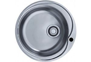 Мойка кухонная врезная круглая Евродомо, d-51, матовая, с переливом