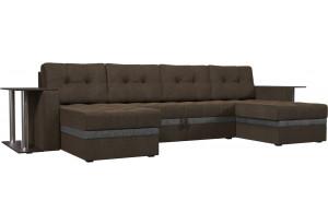 П-образный диван Атланта со столом коричневый/Серый (Рогожка)