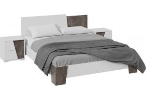 Спальный гарнитур «Клео» стандартный без шкафа (Белый ясень/Ателье темное)