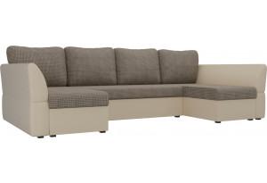 П-образный диван Гесен Корфу 03/коричневый (Корфу/экокожа)