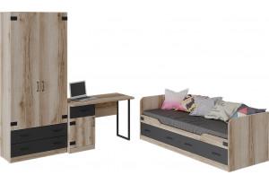 Набор детской мебели «Окланд» стандартный (Фон Черный/Дуб Делано)