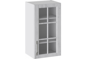 Шкаф навесной со стеклом (ПРОВАНС (Белый глянец/Санторини светлый))