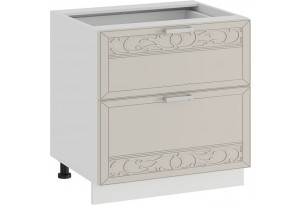 Шкаф напольный с двумя ящиками «Долорес» (Белый/Крем)
