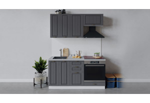 Кухонный гарнитур «Лина» длиной 160 см со шкафом НБ (Белый/Графит)