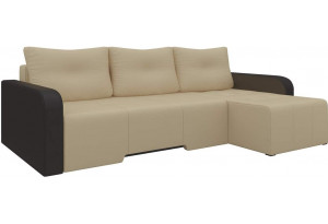Угловой диван Манхеттен бежевый/коричневый (Экокожа)