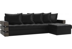 Угловой диван Венеция Черный (Экокожа)