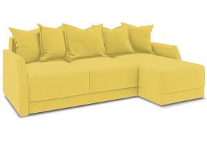 Диван угловой правый «Люксор Slim Т1» (Neo 08 (рогожка) желтый)