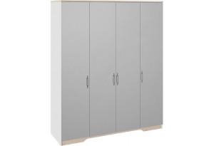 Шкаф для одежды с 4 зеркальными дверями «Тоскана» (Белый Жемчуг/Гикори Джексон)