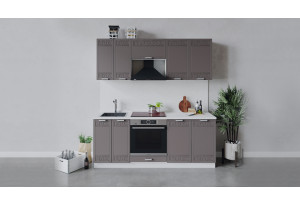 Кухонный гарнитур «Долорес» длиной 200 см со шкафом НБ (Белый/Муссон)