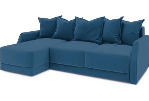 Диван угловой левый «Люксор Slim Т1» (Beauty 07 (велюр) синий)