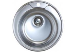 Мойка кухонная врезная Евродомо PMN 610-38, с переливом, матовая, d-49