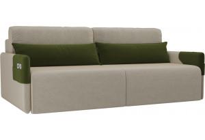 Прямой диван Армада бежевый/зеленый (Микровельвет)