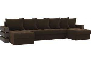 П-образный диван Венеция Коричневый (Микровельвет)