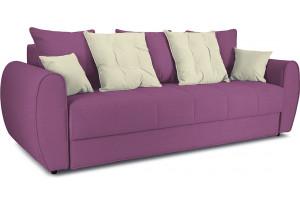 Диван «Бернард» Maserati 18 (велюр) фиолетовый, подушка Miami 01 (рогожка), песочный