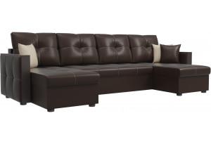 П-образный диван Валенсия Коричневый (Экокожа)