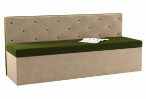 Кухонный прямой диван Салвадор Зеленый/Бежевый (Микровельвет)