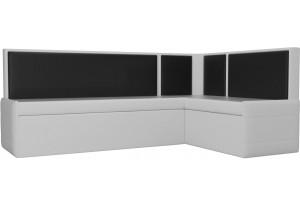 Кухонный угловой диван Кристина Белый/Черный (Экокожа)