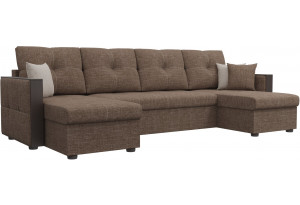 П-образный диван Валенсия Коричневый (Рогожка)