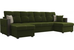 П-образный диван Валенсия Зеленый (Микровельвет)