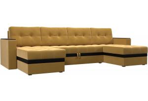 П-образный диван Атланта Желтый (Микровельвет)