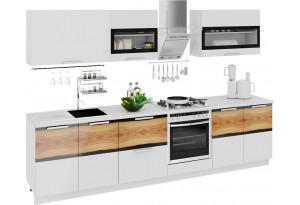 Кухонный гарнитур длиной - 300 см (со шкафом НБ) Фэнтези (Белый универс)/(Вуд)