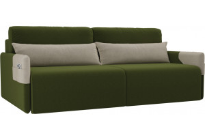 Прямой диван Армада Зеленый/Бежевый (Микровельвет)