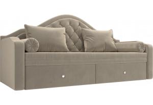 Прямой диван софа Сойер Бежевый (Микровельвет)
