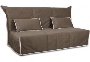 Диван «Крокус» (145х200) Beauty 04 (велюр), коричневый, кант Beauty 02 (велюр), капучино