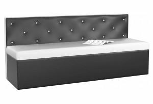 Кухонный прямой диван Салвадор Белый/Черный (Экокожа)