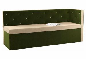 Кухонный диван Салвадор с углом бежевый/зеленый (Микровельвет)