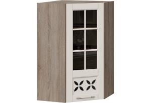 Шкаф навесной угловой c углом 45 со стеклом и декором (СКАЙ (Бежевый софт))