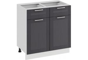 Шкаф напольный с двумя ящиками и двумя дверями «Ольга» (Белый/Графит)