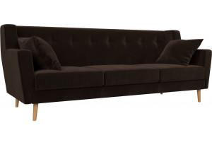Прямой диван Брайтон 3 Коричневый (Микровельвет)