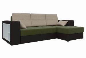 Угловой диван Атлантис зеленый/коричневый (Микровельвет)