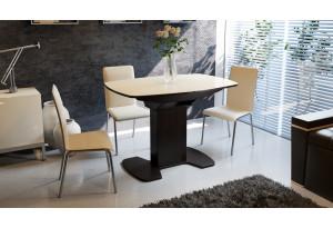Стол обеденный «Портофино» Венге/Стекло бежевое