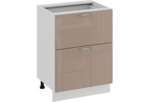 Шкаф напольный с двумя ящиками «Весна» (Белый/Кофе с молоком)