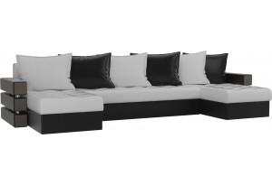 П-образный диван Венеция Белый/Черный (Экокожа)