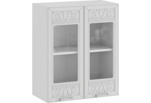 Шкаф навесной c двумя дверями со стеклом «Долорес» (Белый/Сноу)