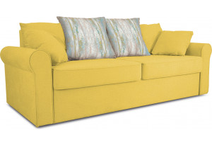 Диван «Шерри» Maserati 11 (велюр) желтый, подушки Tiffany laguna (шинил) морская волна