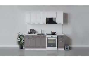 Кухонный гарнитур «Долорес» длиной 220 см (Белый/Сноу/Муссон)