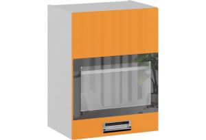 Шкаф навесной со стеклом (левый) БЬЮТИ (Оранж)