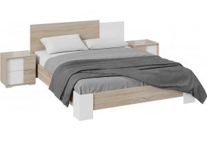Спальный гарнитур «Валери» стандартный без шкафа (Дуб Сонома/Белый ясень)