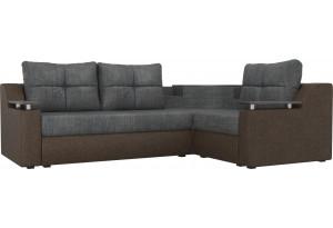 Угловой диван Тесей Серый/коричневый (Рогожка)