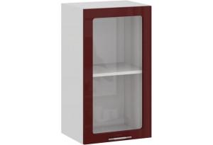 Шкаф навесной c одной дверью со стеклом «Весна» (Белый/Бордо глянец)