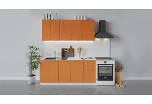 Кухонный гарнитур «Весна» длиной 180 см (Белый/Оранж глянец)