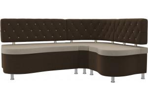 Кухонный угловой диван Вегас бежевый/коричневый (Микровельвет)