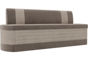 Кухонный прямой диван Токио Коричневый/Бежевый (Велюр)