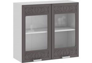 Шкаф навесной c двумя дверями со стеклом «Долорес» (Белый/Муссон)