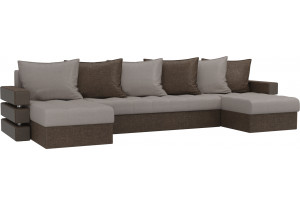 П-образный диван Венеция бежевый/коричневый (Рогожка)