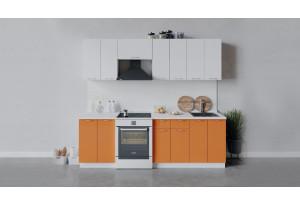 Кухонный гарнитур «Весна» длиной 240 см (Белый/Белый глянец/Оранж глянец)